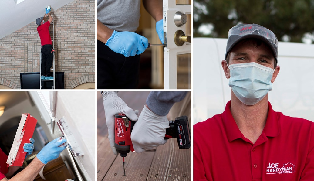 A collage of Ace craftsmen performing home improvements on walls, doors and decks.
